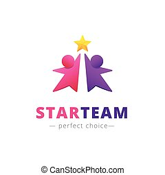 Vector two persons with a star logo. Team brand sign