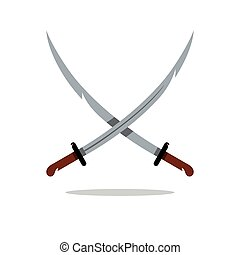 Vector Two Scimitar Cartoon Illustration. - Crosswise asian...
