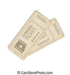 Vector two vintage cinema tickets
