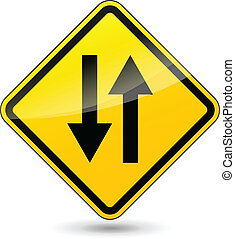 Vector two way yellow sign - Vector illustration of two way...