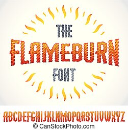 Vector type font created using burning fire