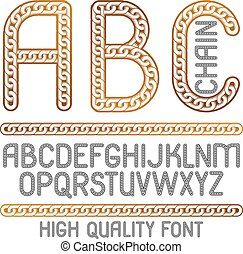 Vector type font, script from a to z. Upper case decorative letters, abc created using metal connected chain link.