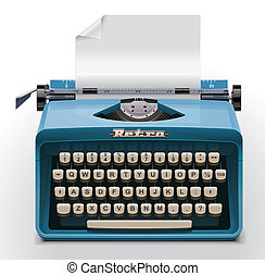Extralarge icon representing retro typewriter with empty paper sheet