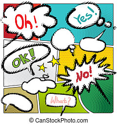 vector typical comic book page with various speech bubbles Halft