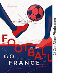 Vector typographic France football poster template