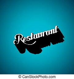 vector typographic illustration of handwritten Restaurant retro label. lettering composition