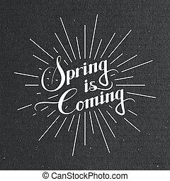 Spring season retro label
