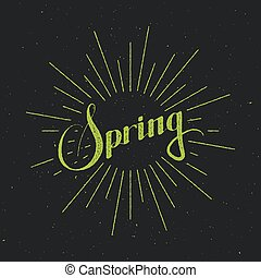 Spring season retro label with light rays