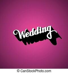vector typographic illustration of handwritten Wedding retro label. lettering composition