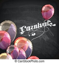 vector typographical illustration of ornate chalk word carnival on the blackboard texture with multicolored flying balloons