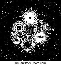 vector typographical illustration with ornate word carnival and light rays, starburst or fireworks on the black background