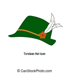 Vector Tyrolean Hat Icon with a feather isolation over...