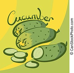Vector ?ucumber - vector cucumber with calligraphic...