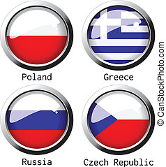 Vector UEFA Euro 2012 flags - group A