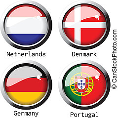 Vector UEFA Euro 2012 flags - group B