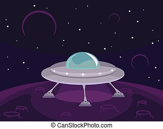 Vector UFO flat illustration