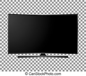 Vector UHD Smart Tv with black curved screen on white background.