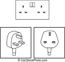 Vector. UK, British socket and plug. Icon. Three 3 pin socket isolated illustration.