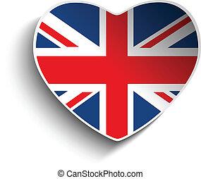 Vector - UK Flag Heart Paper Sticker