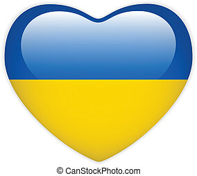 Ukraine Flag Heart Glossy Button - Vector - Ukraine Flag...