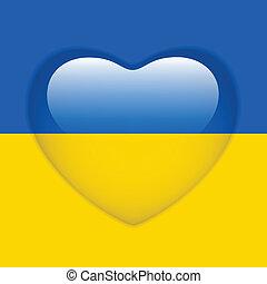 Ukraine Flag Heart Glossy Button