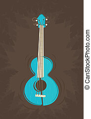 Vector ukulele guitar on tropical plants background