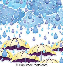 Vector umbrella and rain drops.