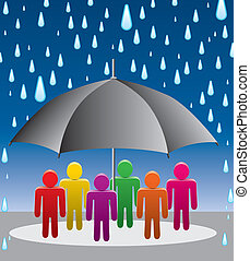 vector umbrella protection from rain drops - vector...