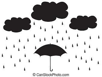 vector umbrella under rain