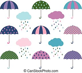 Vector umbrellas and clouds with raindrops - Stylized...