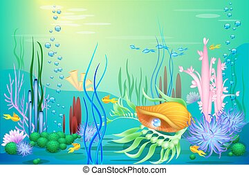 Vector Undersea world with a golden seashell and fish. Different seaweeds and a blue pearl