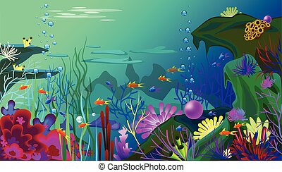 Vector Undersea world with fish. Different seaweeds and a big pearl