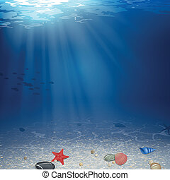 Vector Underwater Background - Vector Illustration of an...