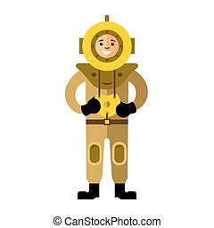 Vector Underwater diving. Antique scuba diver. Flat style colorful Cartoon illustration.