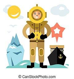 Vector Underwater diving. Antique scuba diver. Flat style colorful Cartoon illustration.