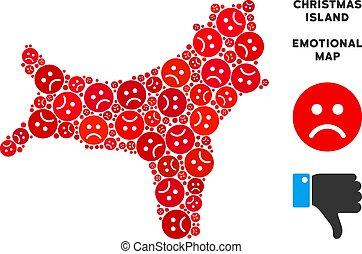 Vector Unhappy Christmas Island Map Collage of Sad Emojis -...