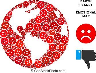 Vector Unhappy Earth Globe Collage of Sad Smileys