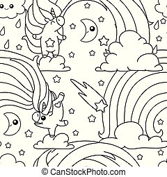 vector unicorn pattern coloring page