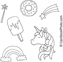Vector unicorn set isolated on white background. Cute animal. For children