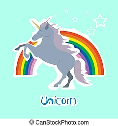 Vector unicorn sticker with stars and rainbow