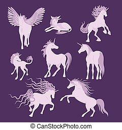 Vector unicorns image collection