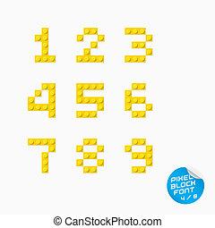 Vector Unique Pixel Block Alphabet With Sticker