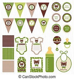 vector unisex baby shower set of elements for design