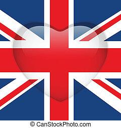 United Kingdom Flag Heart Glossy Button