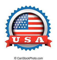 Vector - United States Flag Glossy Button with ribbon