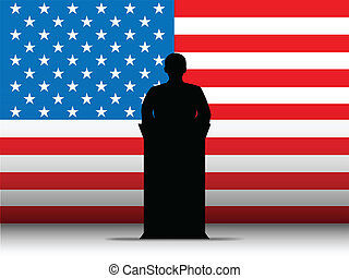 Vector - United States of America  Speech Tribune Silhouette with Flag Background