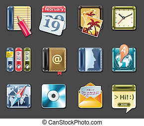 Vector universal square icons. P.1g - Set of square glossy...