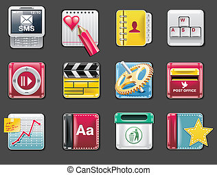 Vector universal square icons. P.4g - Set of square glossy...