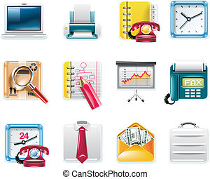 Vector universal square icons. P.7w - Set of square glossy...