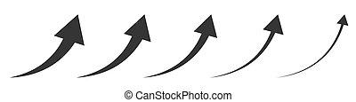Vector up arrows. Set of rising arrows